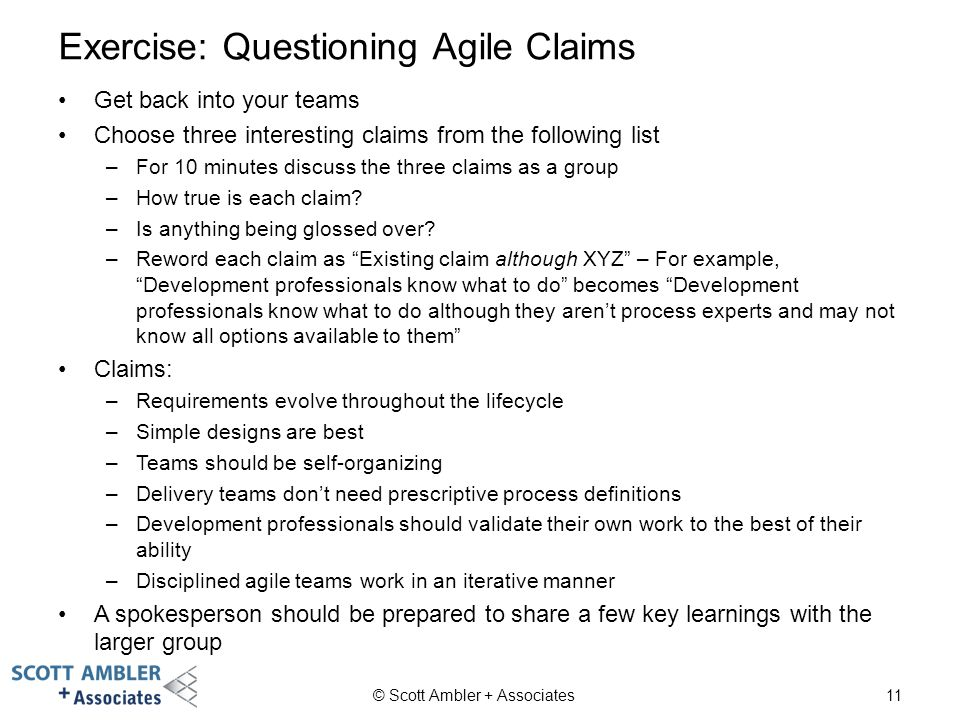 Exercise: Questioning Agile Claims