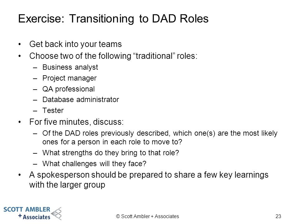 Exercise: Transitioning to DAD Roles