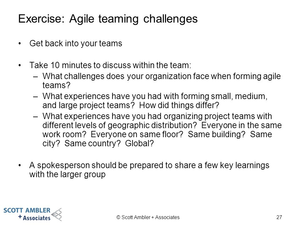 Exercise: Agile teaming challenges
