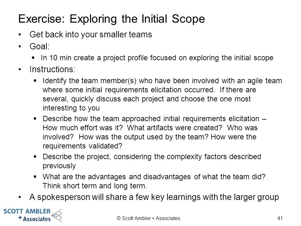 Exercise: Exploring the Initial Scope