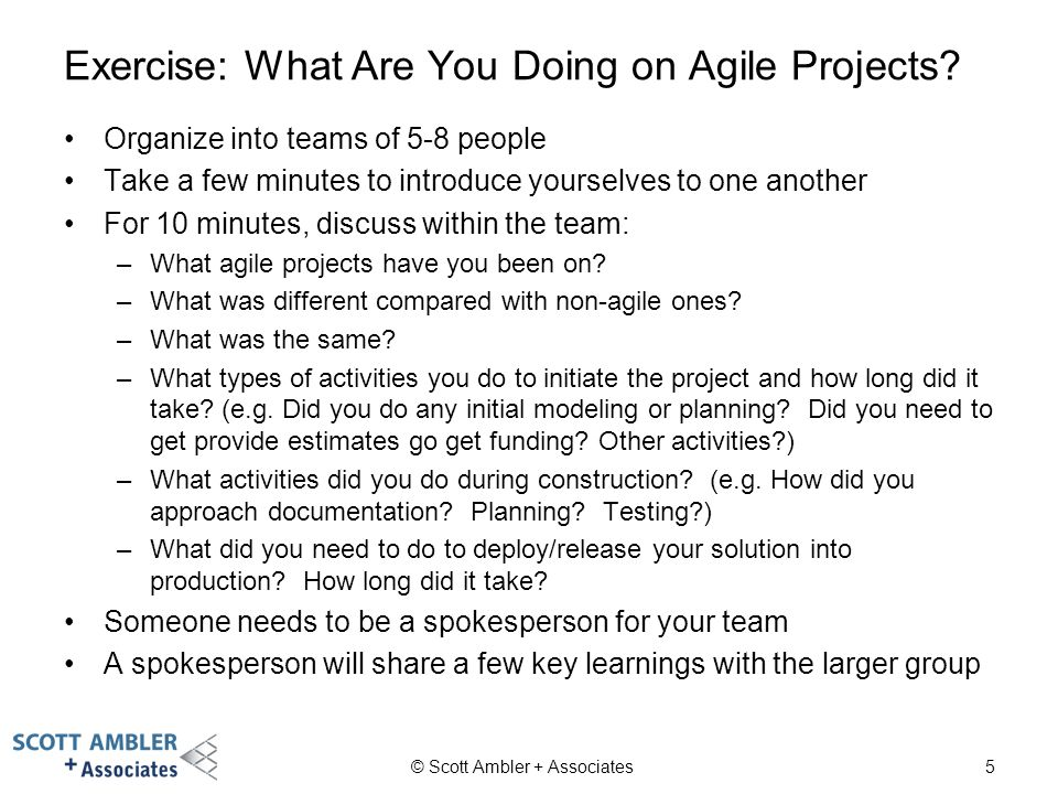 Exercise: What Are You Doing on Agile Projects