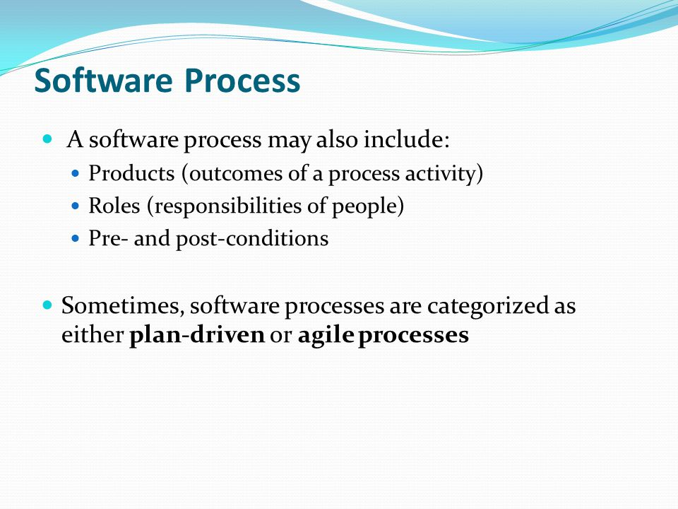 Software Process A software process may also include:
