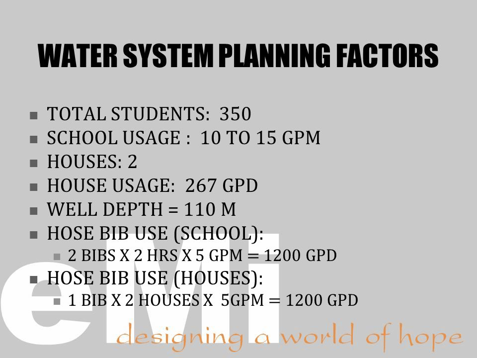 WATER SYSTEM PLANNING FACTORS
