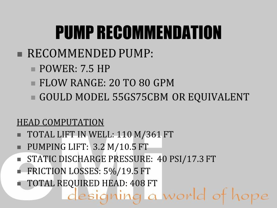 PUMP RECOMMENDATION RECOMMENDED PUMP: POWER: 7.5 HP