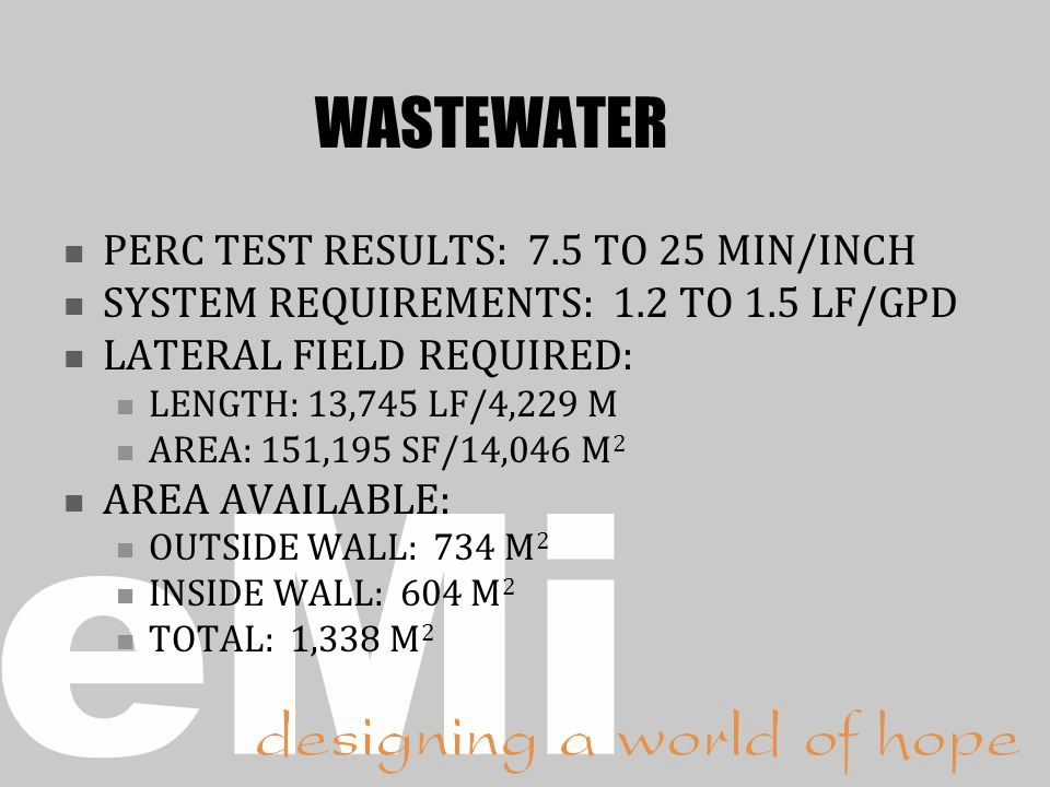 WASTEWATER PERC TEST RESULTS: 7.5 TO 25 MIN/INCH