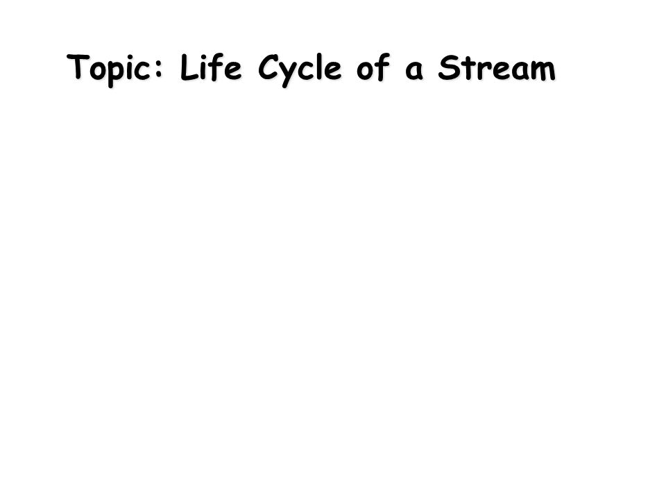 Topic: Life Cycle of a Stream
