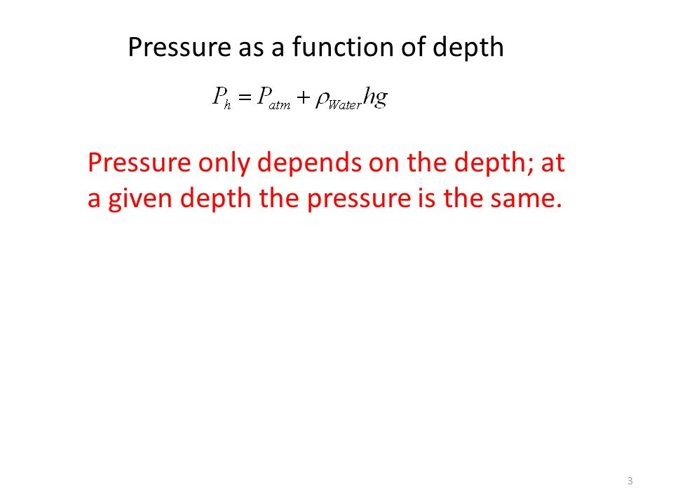 Pressure as a function of depth