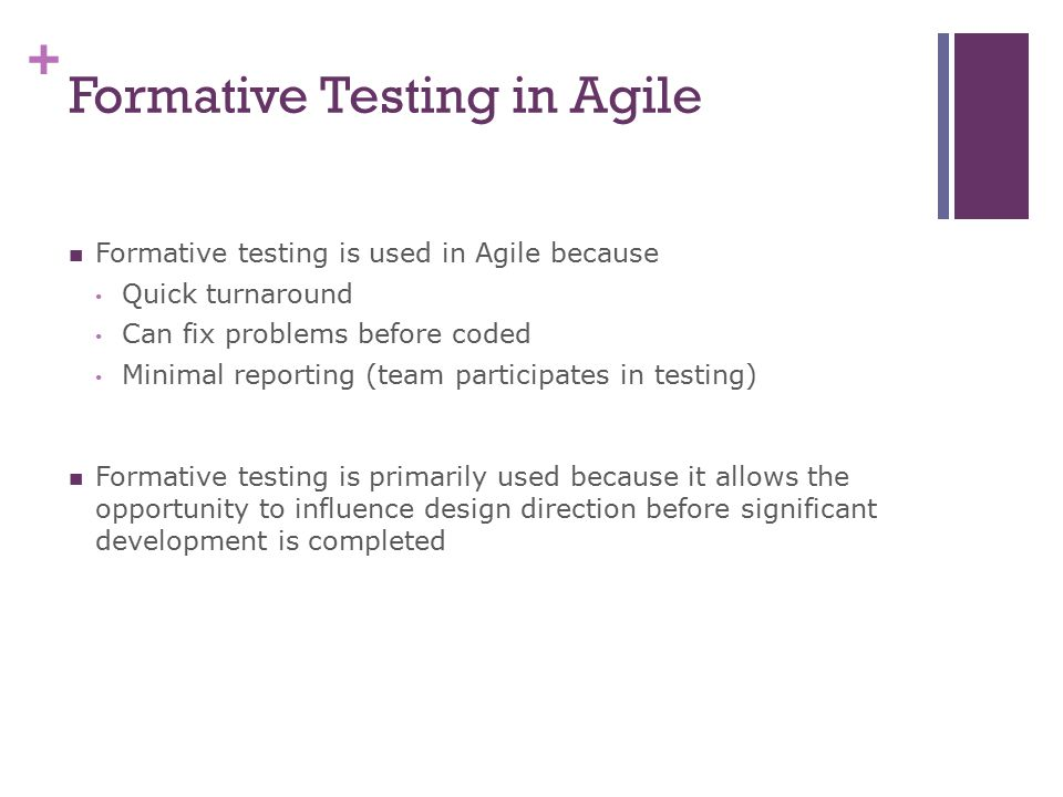Formative Testing in Agile