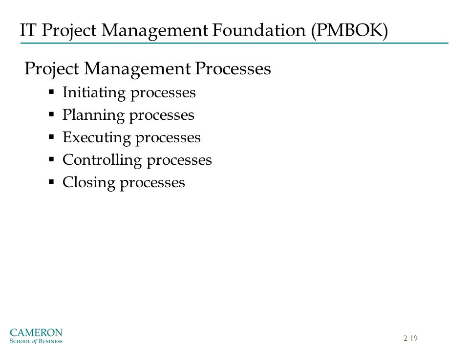 IT Project Management Foundation (PMBOK)