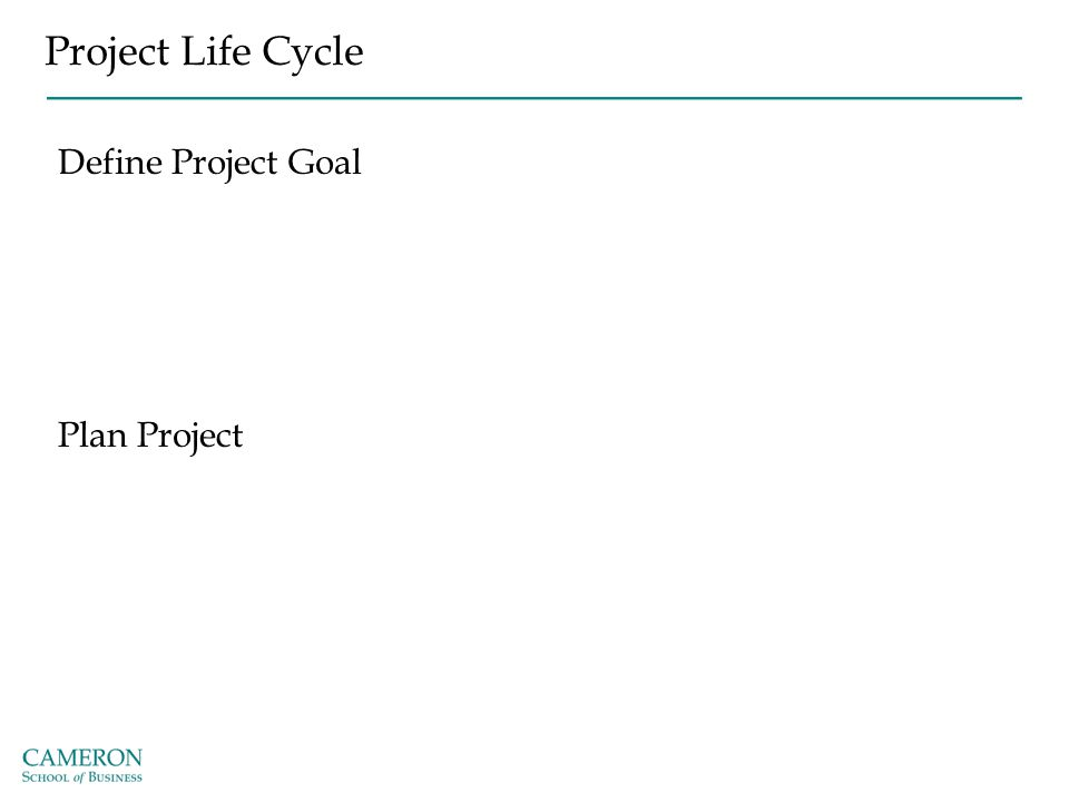 Project Life Cycle Define Project Goal Plan Project