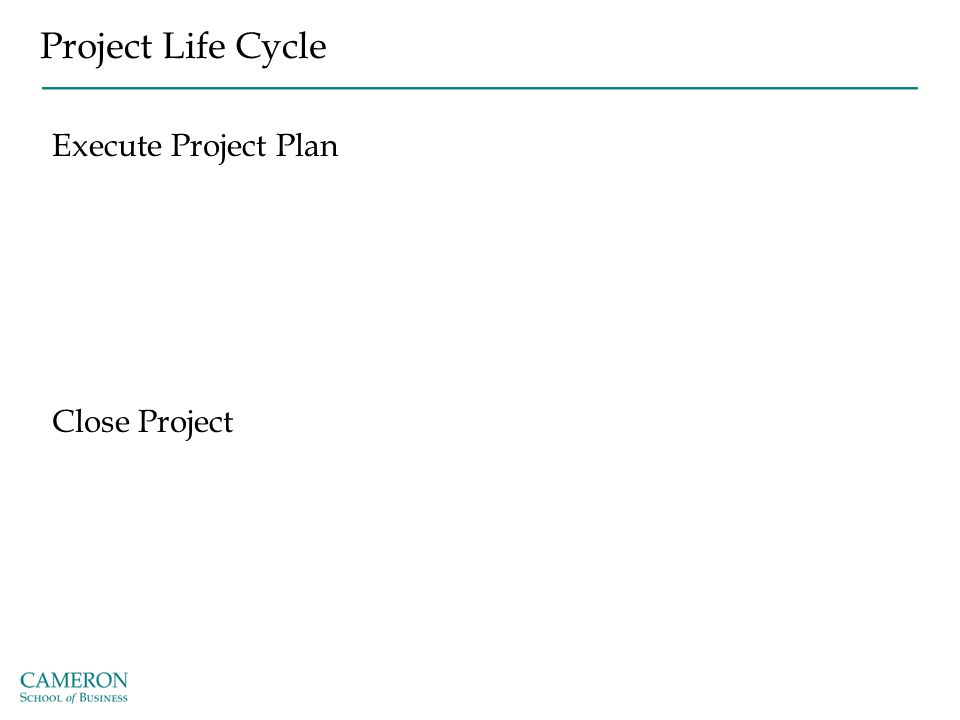 Project Life Cycle Execute Project Plan Close Project