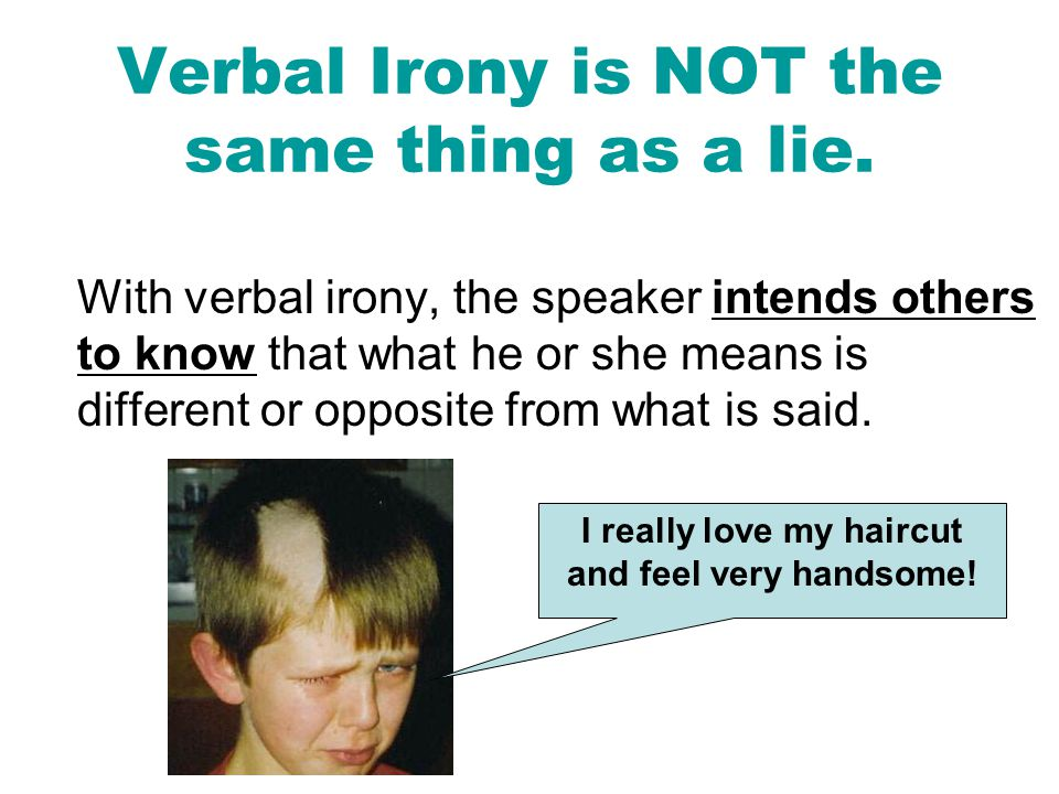 Verbal Irony is NOT the same thing as a lie.