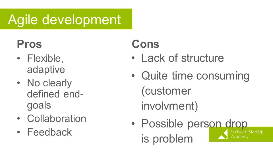 Agile development Pros Cons Lack of structure