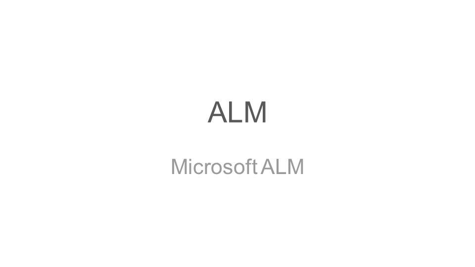 ALM Microsoft ALM