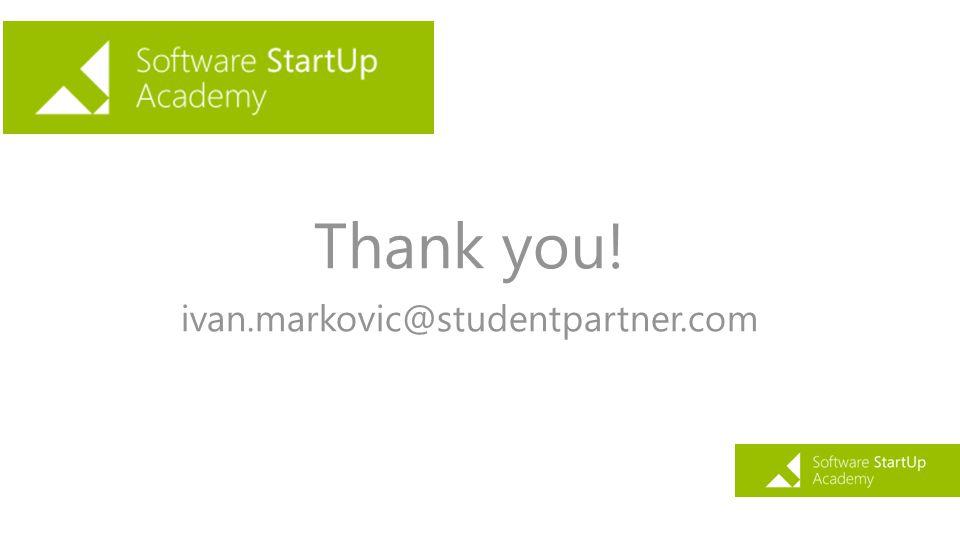 Thank you! ivan.markovic@studentpartner.com