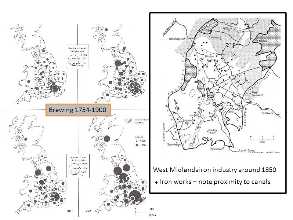 Brewing 1754-1900 West Midlands iron industry around 1850 Iron works – note proximity to canals