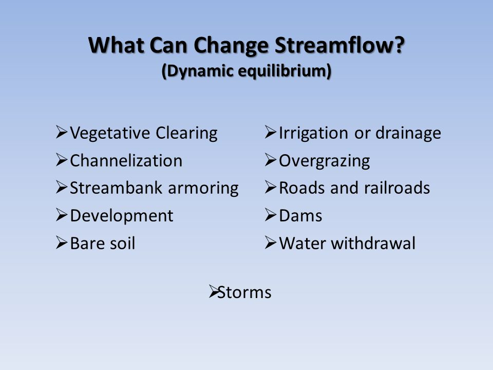 What Can Change Streamflow (Dynamic equilibrium)