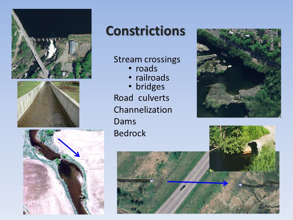 Constrictions Stream crossings roads railroads bridges Road culverts