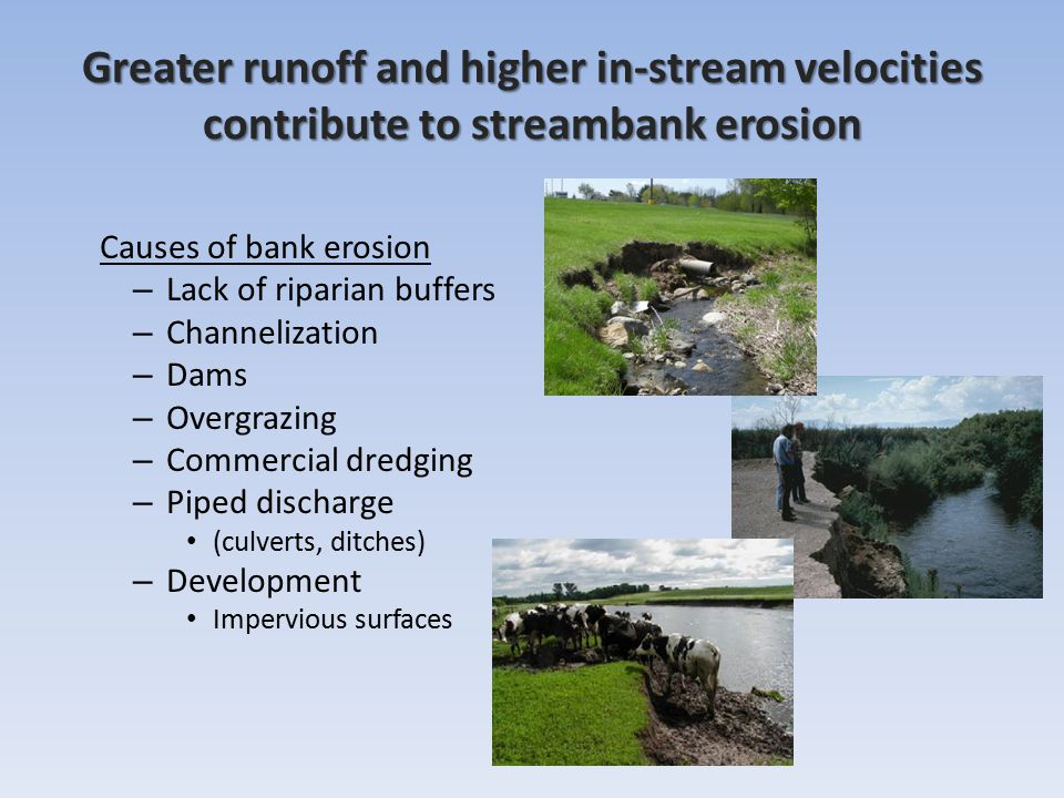 Greater runoff and higher in-stream velocities
