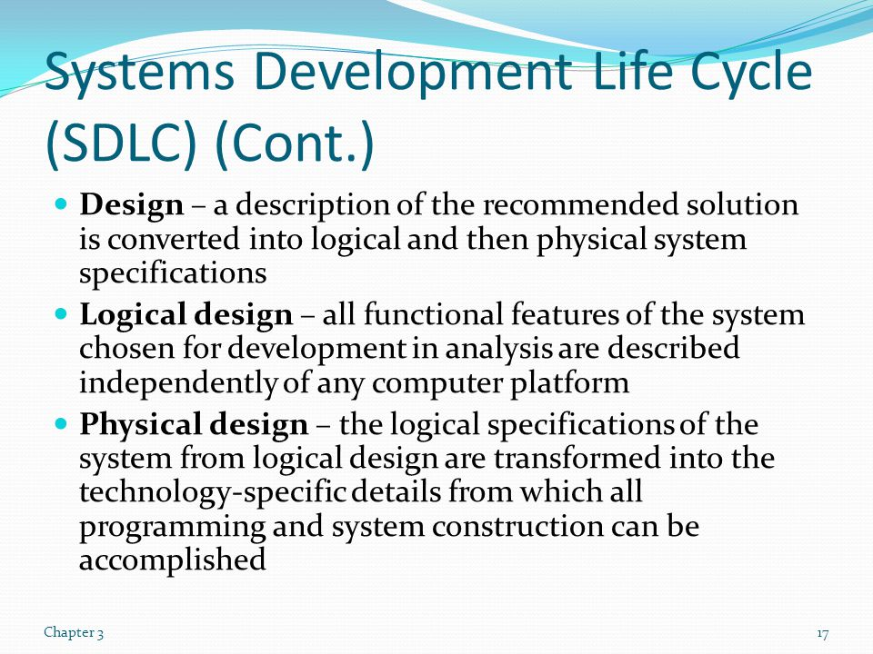 Systems Development Life Cycle (SDLC) (Cont.)