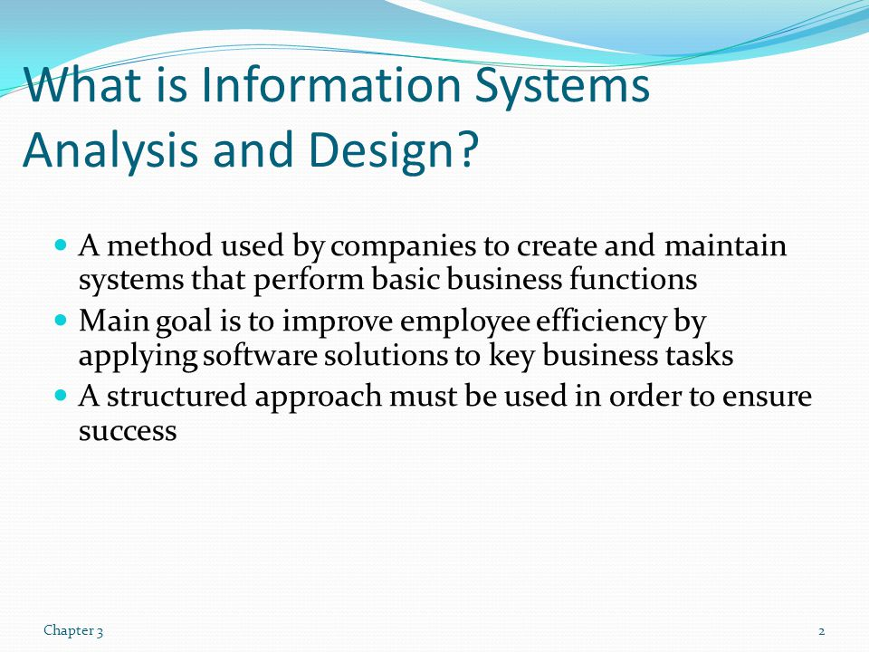 What is Information Systems Analysis and Design