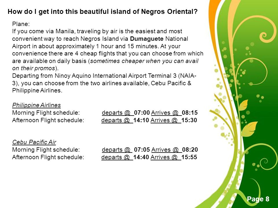 How do I get into this beautiful island of Negros Oriental