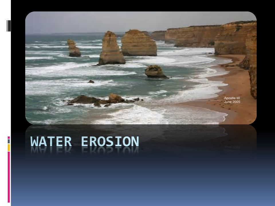 Water Erosion Picture is of an eroded beach line. Erosion was by waves.