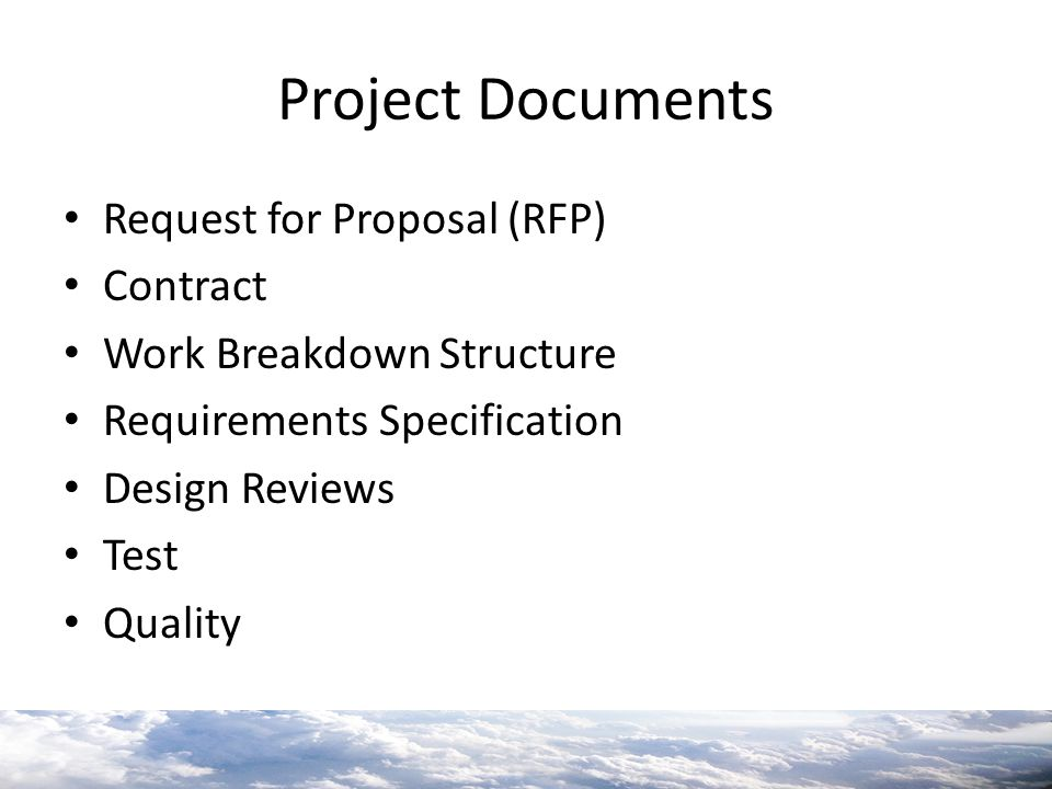 Project Documents Request for Proposal (RFP) Contract
