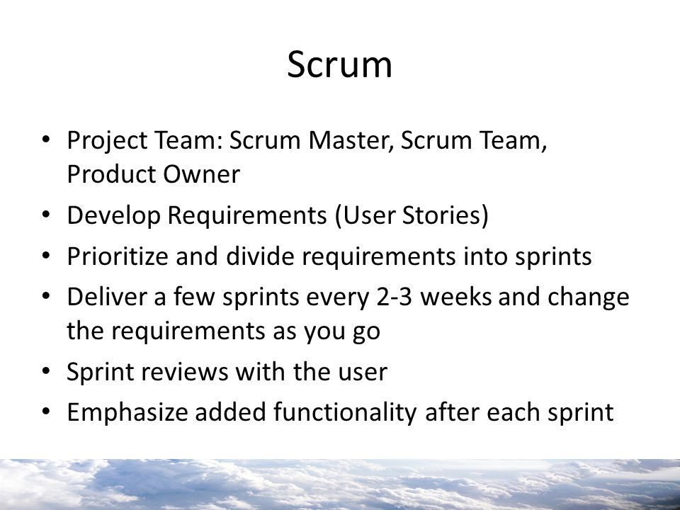 Scrum Project Team: Scrum Master, Scrum Team, Product Owner