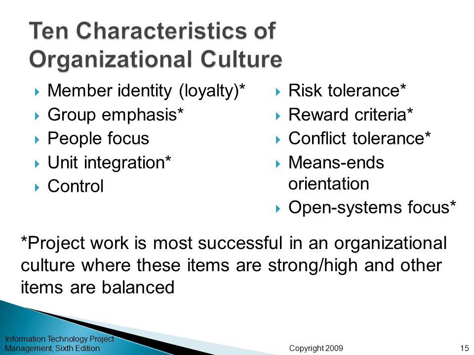 Ten Characteristics of Organizational Culture