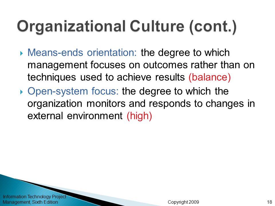 Organizational Culture (cont.)