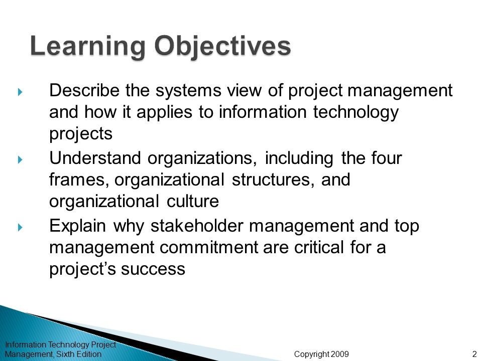 Learning Objectives Describe the systems view of project management and how it applies to information technology projects.