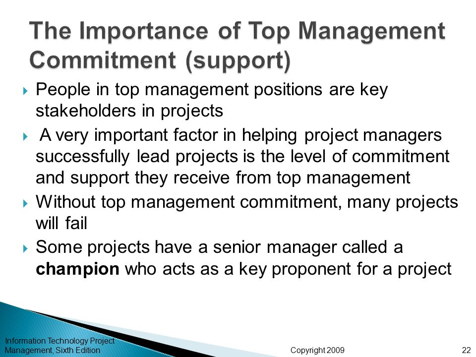 The Importance of Top Management Commitment (support)