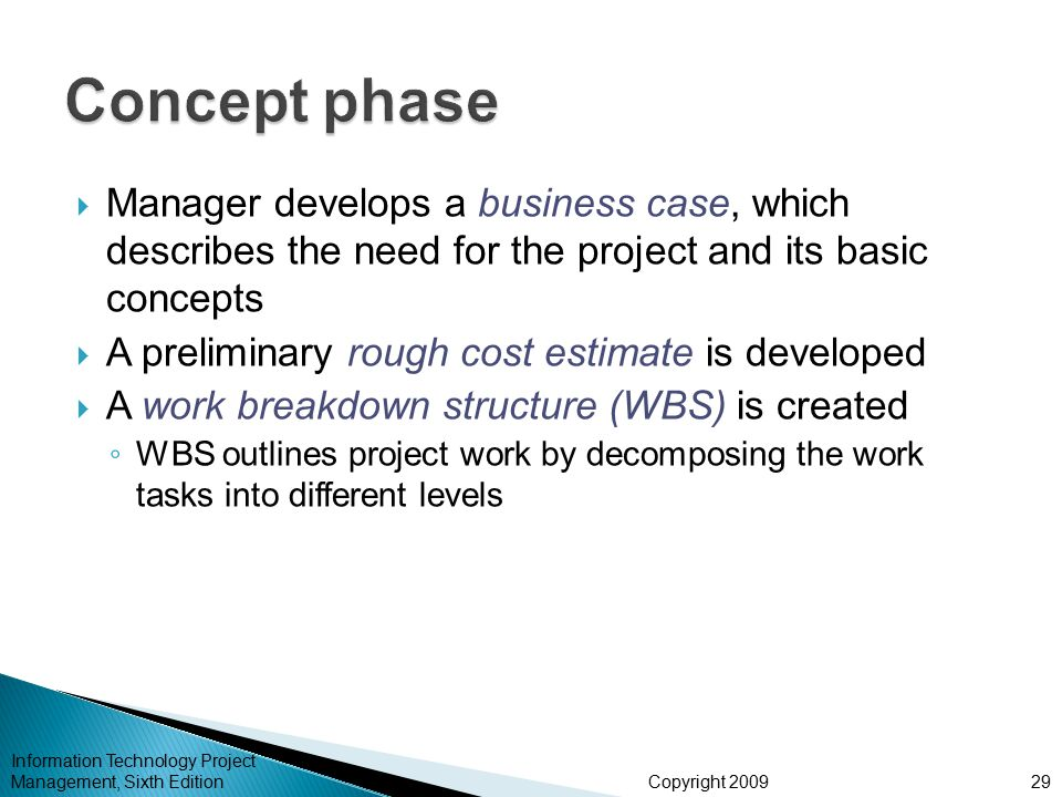 Concept phase Manager develops a business case, which describes the need for the project and its basic concepts.