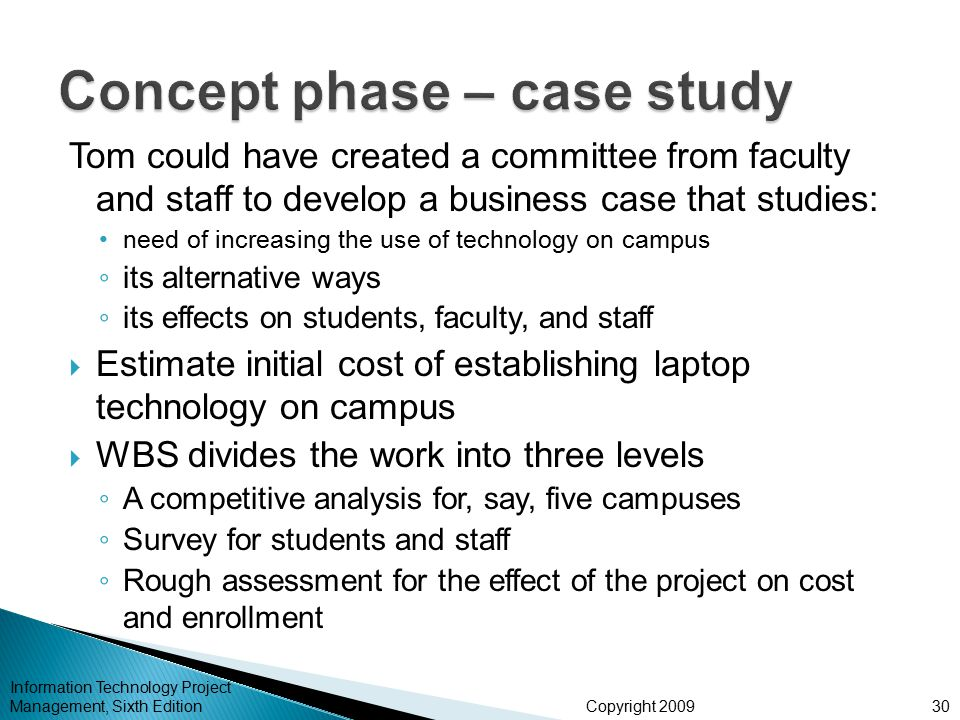 Concept phase – case study