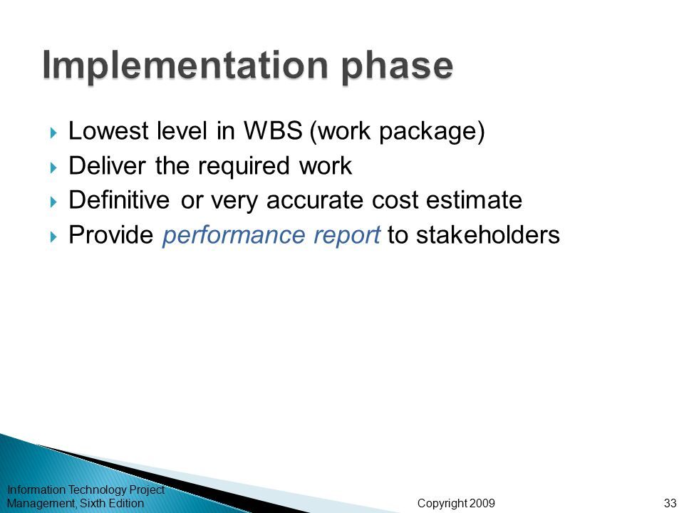 Implementation phase Lowest level in WBS (work package)