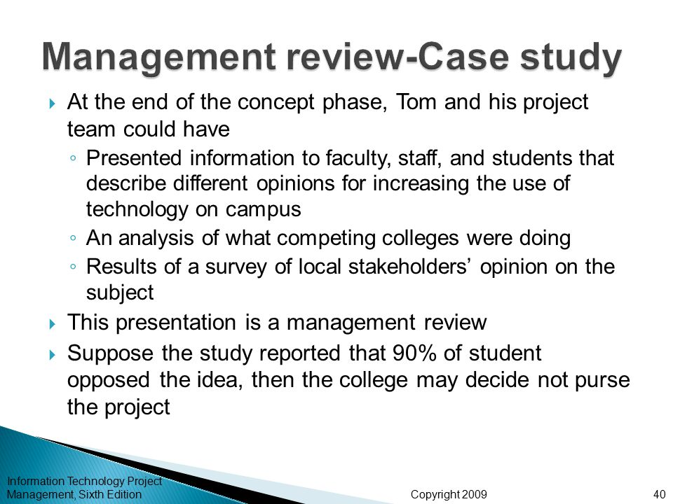 Examples of the Project Management Process: Case Studies