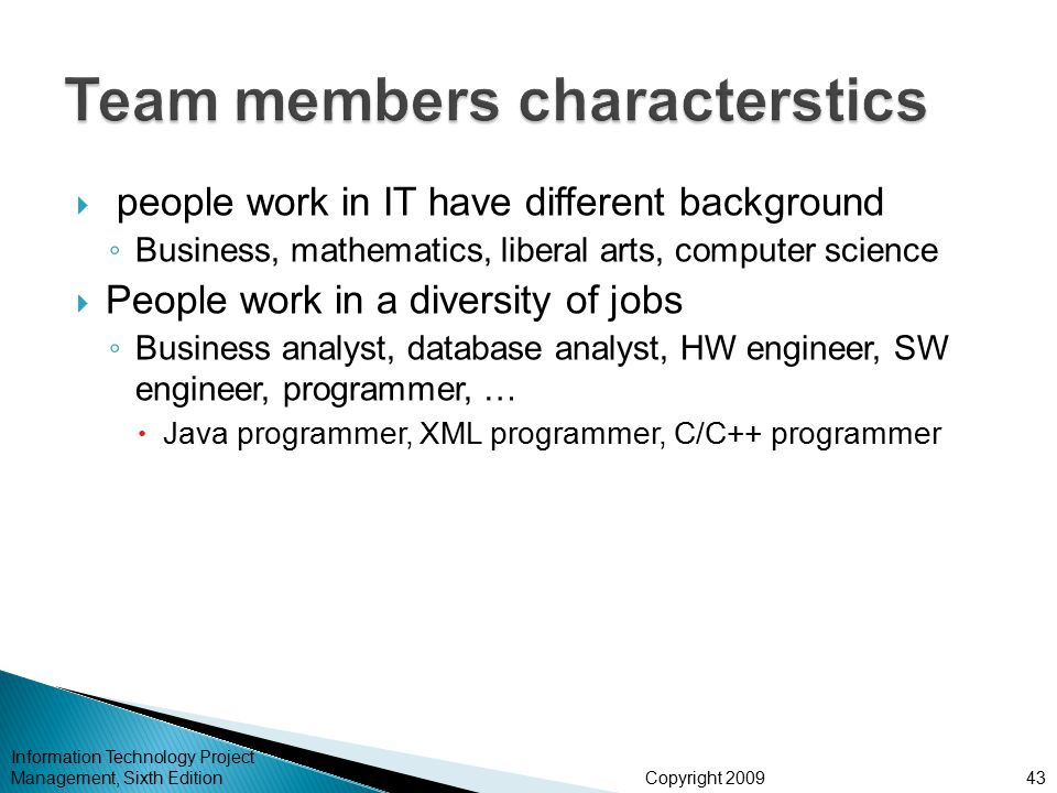 Team members characterstics