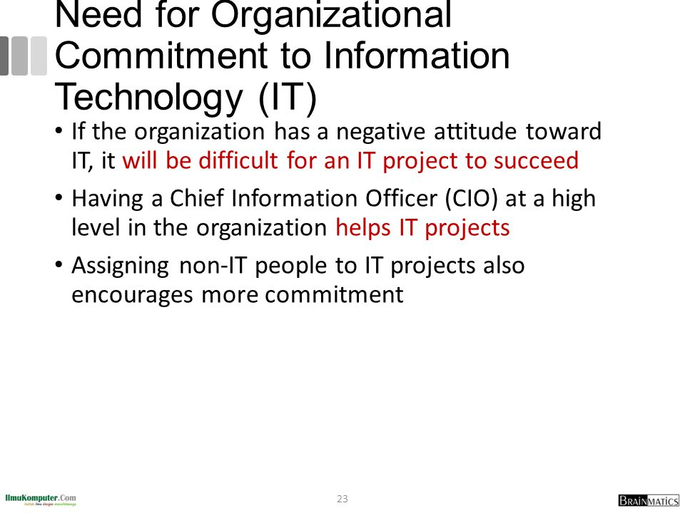 Need for Organizational Commitment to Information Technology (IT)