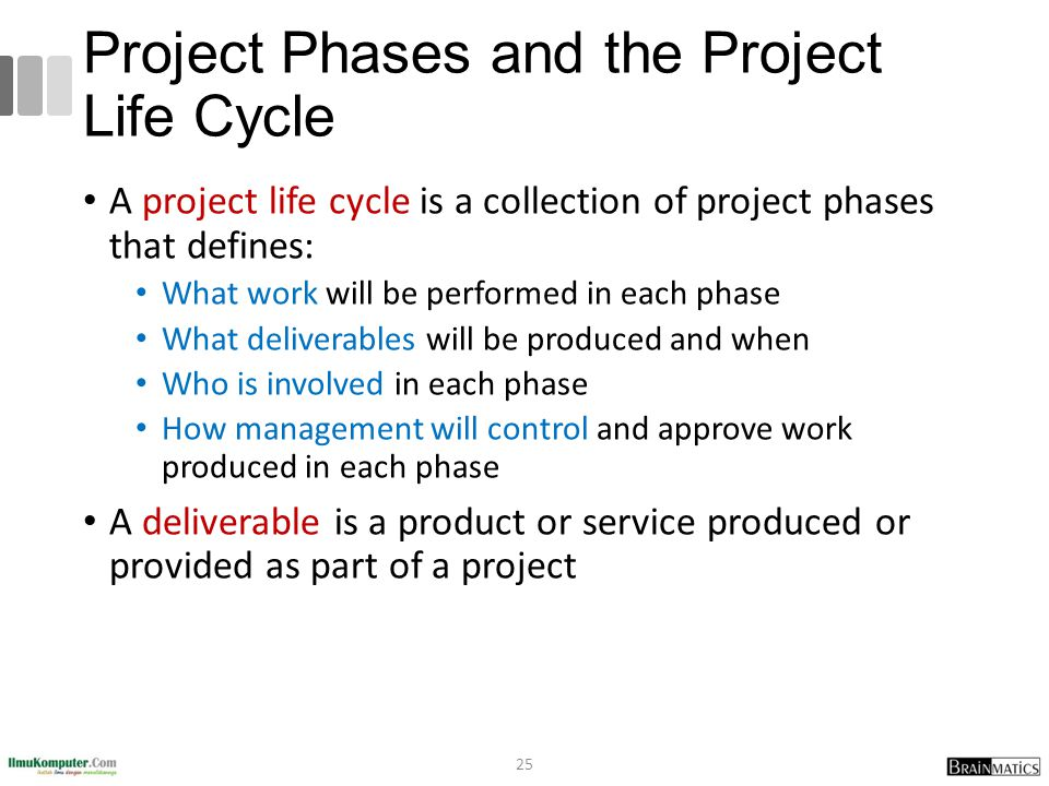 what are the basic phases of the project lifecycle and their purposes The project life cycle (phases) details to allow various parts of the project team to coordinate their work and allow the project management team to make.