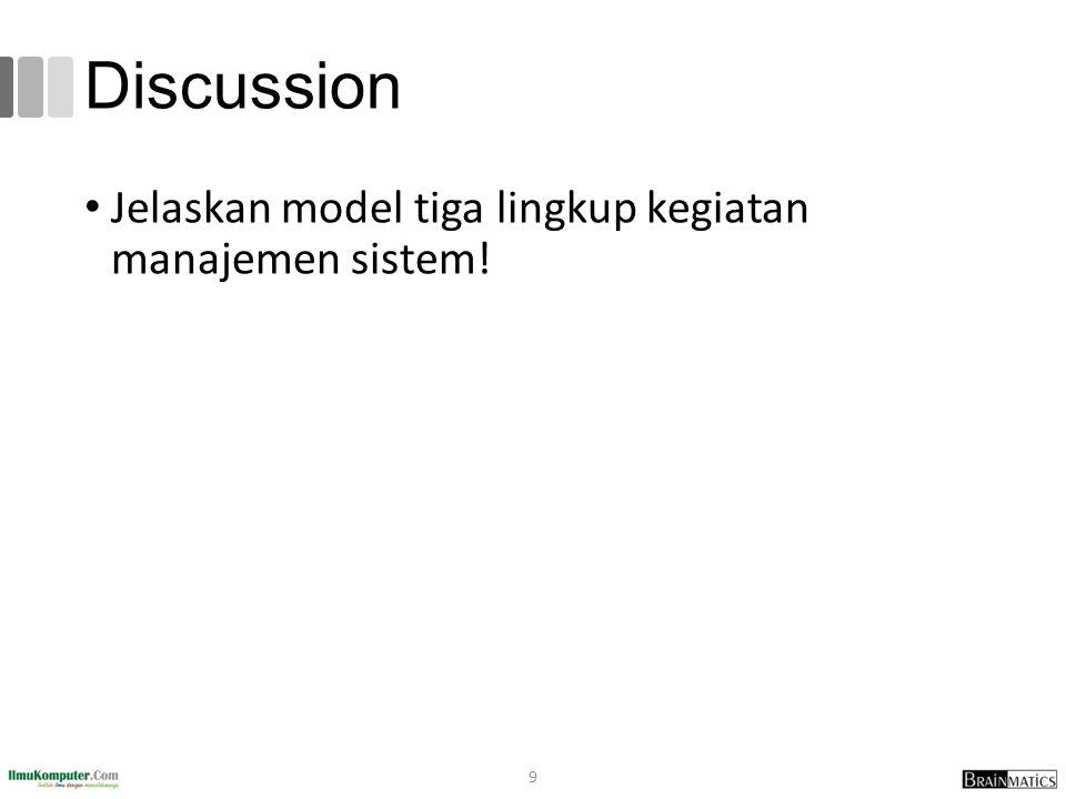 Discussion Jelaskan model tiga lingkup kegiatan manajemen sistem!