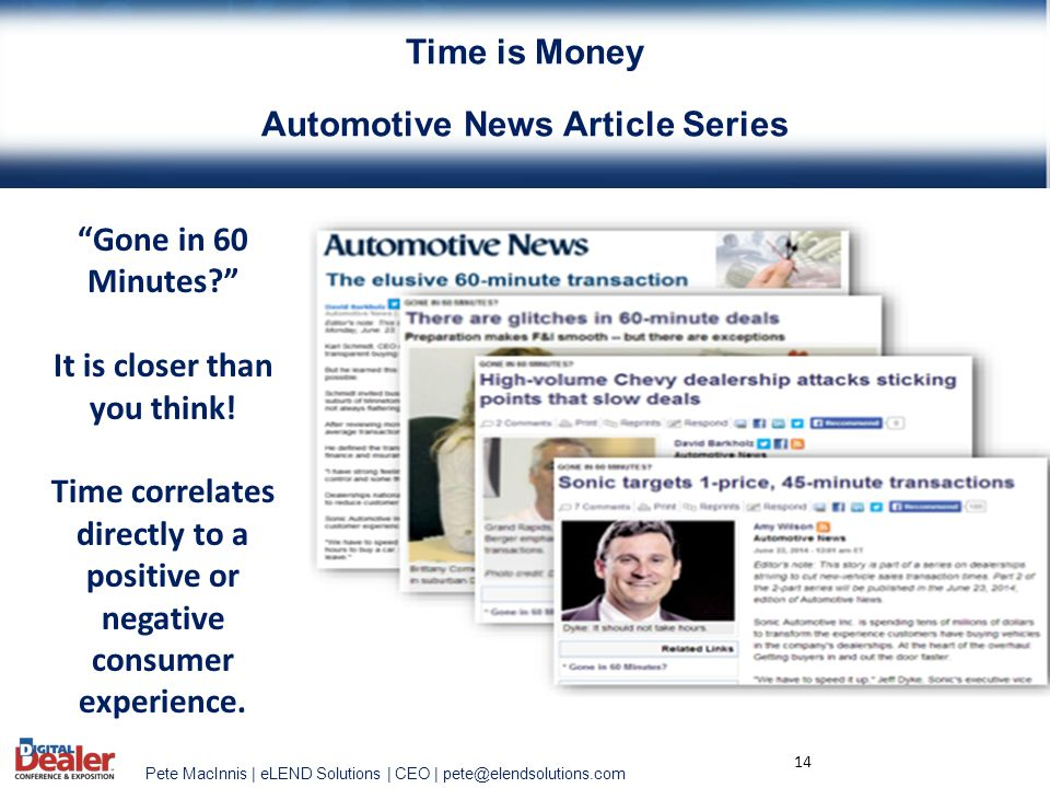 Time is Money Automotive News Article Series