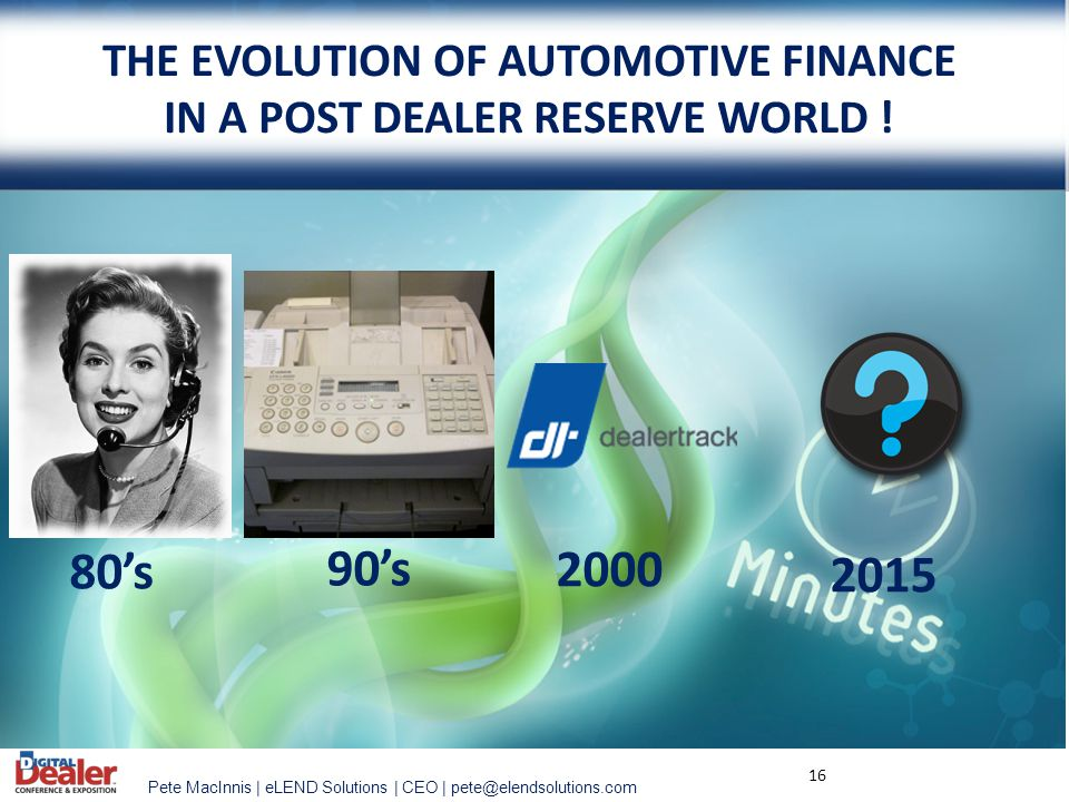 THE EVOLUTION OF AUTOMOTIVE FINANCE IN A POST DEALER RESERVE WORLD !
