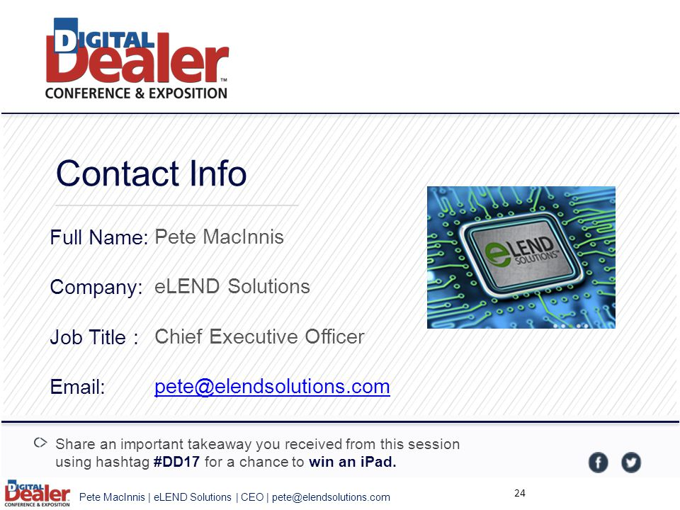 Contact Info Full Name: Company: Job Title : Email: Pete MacInnis. eLEND Solutions. Chief Executive Officer.