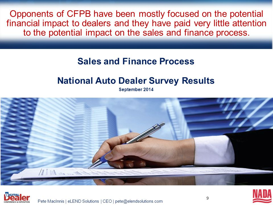 Sales and Finance Process National Auto Dealer Survey Results