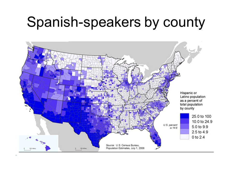 Spanish-speakers by county