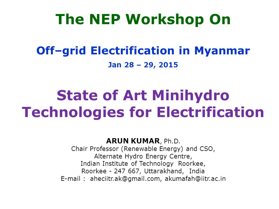 State of Art Minihydro Technologies for Electrification