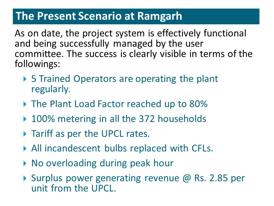 The Present Scenario at Ramgarh