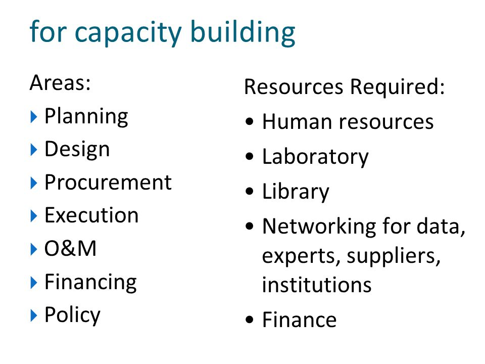 for capacity building Areas: Resources Required: Planning