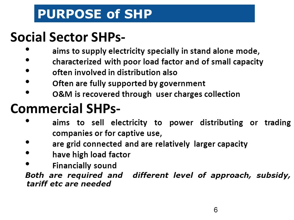 Social Sector SHPs- Commercial SHPs- PURPOSE of SHP